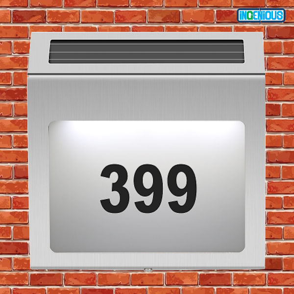 SOLAR POWERED HOUSE NUMBER SIGN